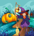Cute witch and mushroom house vector image vector image