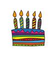 Doodle birthday cake vector image