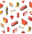 firefighter man and equipment seamless pattern vector image