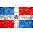 flag of dominican republic on a brick wall vector image