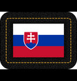 flag of slovakia icon on black leather backdrop vector image vector image