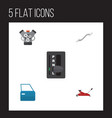 flat auto set of motor lifting coupler and other vector image vector image