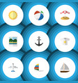 flat icon beach set of parasol reminders ship vector image