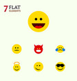 flat icon face set of laugh cold sweat angel and vector image vector image