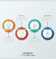 four dissected circular elements with thin line vector image