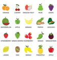 fruits and berries icons collection set vector image