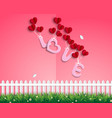 garden of love with red balloons vector image