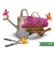 Garden tools background vector image vector image