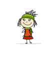 girl with backpack sketch for your design vector image