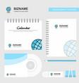 globe logo calendar template cd cover diary and vector image vector image
