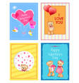 happy valentines day festive cartoon postcards set vector image vector image