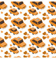 isometrics taxis and hearts pattern background vector image vector image