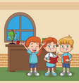 kids at classroom vector image