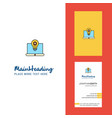 laptop creative logo and business card vertical vector image vector image