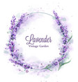 lavender wreath watercolor splash delicate floral vector image vector image
