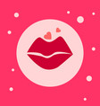 lips icon on pink background blowing kiss vector image vector image