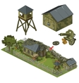 Military garrison garage tower and machine gun vector image vector image