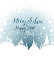 minimalist snowy landscape as a christmas card vector image