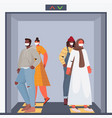 mix race people wearing protective masks keeping vector image vector image