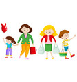 mother and kid go shopping vector image vector image