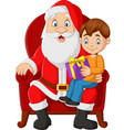 santa claus sitting in chair with a little boy vector image vector image