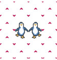 seamless pattern with penguins in love cute pixel vector image vector image