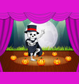 stage with a halloween party with human skulls vector image