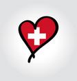 swiss flag heart-shaped hand drawn logo vector image vector image