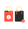 two shopping bags with dollar sign vector image