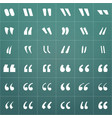 white quote mark icons set isolated on modern vector image vector image