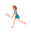 young female tennis player with racket vector image vector image