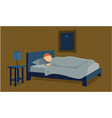 young male sleeping in the bed of his apartment vector image