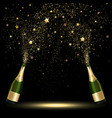 Spray Bottle of Champagne Golden Confetti vector image