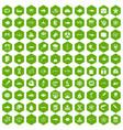 100 oceanology icons hexagon green vector image vector image