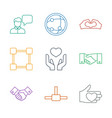 9 friendship icons vector image vector image