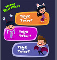 an kids in halloween costumes vector image vector image