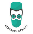 banner for medical marijuana with doctor face vector image vector image