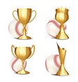 baseball game award set baseball ball vector image vector image