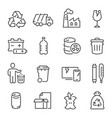 big set waste sorting recycling thin line vector image