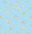 blue pattern with flower and butterfly vector image vector image