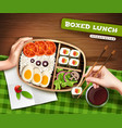 boxed lunch vector image vector image