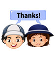 boy and girl with word thanks vector image vector image