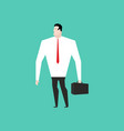 businessman in white shirt and with suitcase vector image