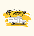 camper trailer or campervan driving against exotic vector image
