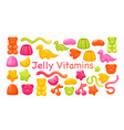 candy chewy jelly vitamins set colorful glossy vector image vector image