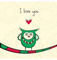 Card with owl in love vector image vector image