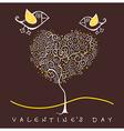 cartoon birds above romantic flowers holding heart vector image vector image