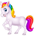 cartoon rainbow horse isolated on white background vector image vector image