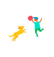 child plays with dog pet outdoors isolated vector image vector image