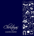 christmas seamless vertical border silhouettes of vector image vector image